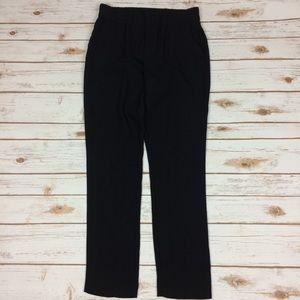 Gap elastic waist pinstriped black slacks